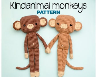 Kindanimals MONKEY (Crochet digital pattern in English - Español - Português - Italiano)