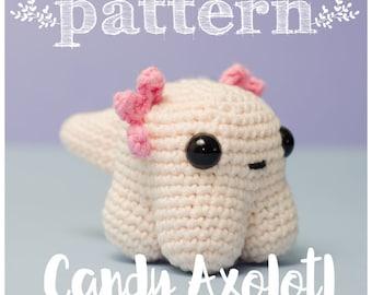PATTERN Candy Axolotl - axolotl crochet amigurumi doll - ONPOKI (pattern in English and Spanish)