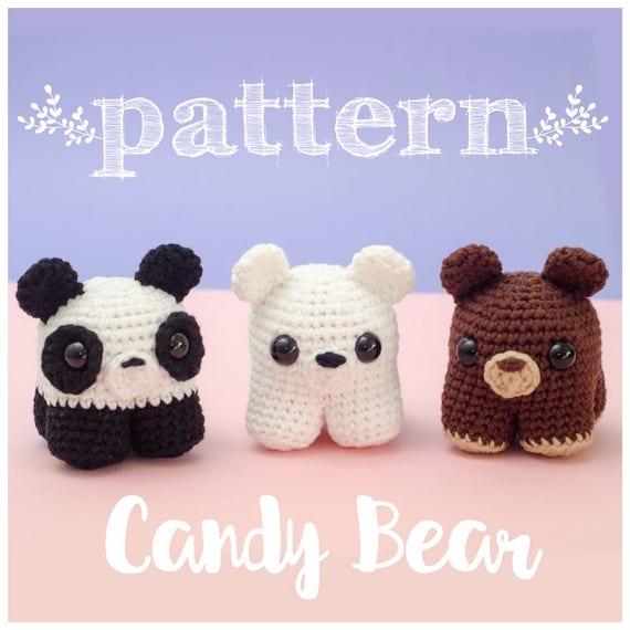 PATRON Candy Bears oso crochet ganchillo amigurumi muñeco | Etsy
