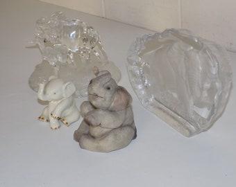 Vintage Lenox Ivory Porcelain Small 2 34 Baby Elephant Figurine Mid Century Yoga Studio Safari Animal Boho Trunk Up Good Luck Elephant Art
