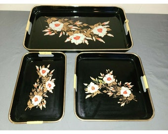 Vintage Toyo Lacquer Ware Nesting Tray Set Black Red White Flowers