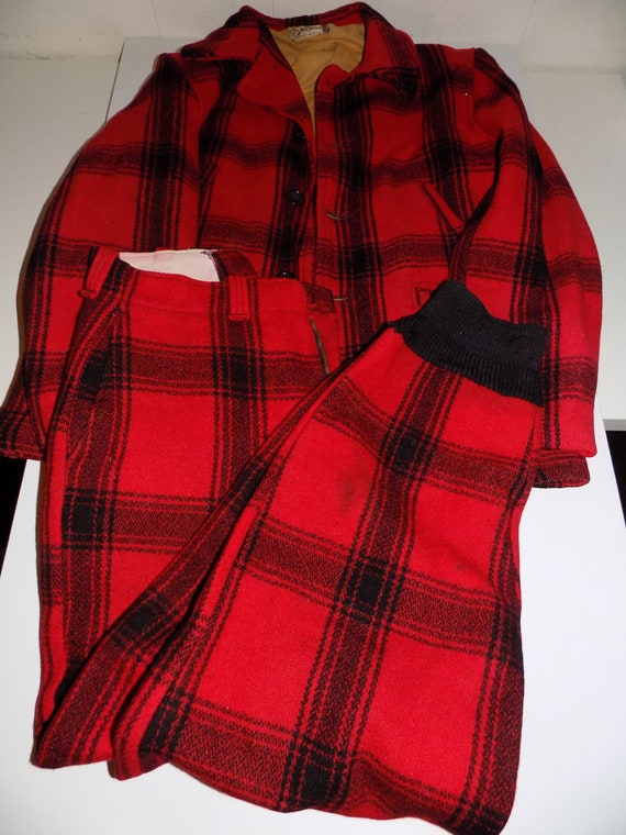Vintage Sears Sportswear Red Plaid Lined Hunting C