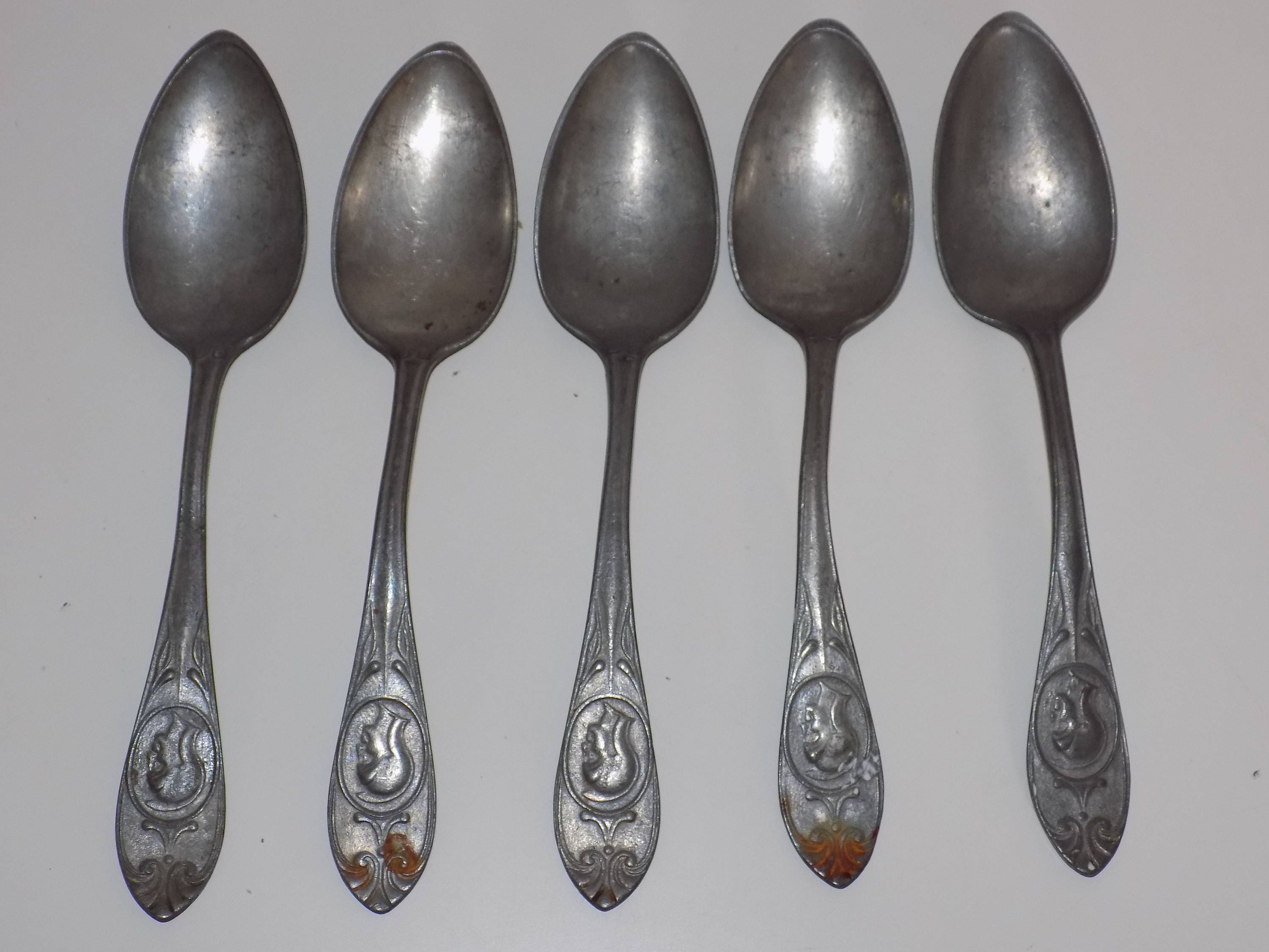 Set of 5 Pewter Spoons Soldier Profile