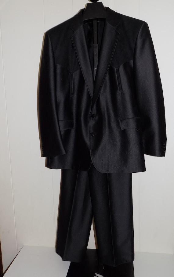 Vintage Circle S Mens Western Suit Black Jacket Pa
