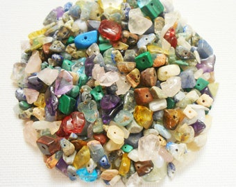75 Mixed Gemstones, Bulk Beads, Jewellery Making Craft Supplies, Wholesale Stone Beads, SemiPrecious Stone Chip, Rainbow Gemstone, DESTASH