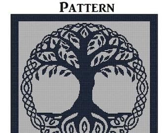 Celtic Tree of Life PATTERN, Cross Stitch, Needlepoint, Rug Hooking Patterns, Perler Hama Beads Designs, Trees, Art Digital Downloads
