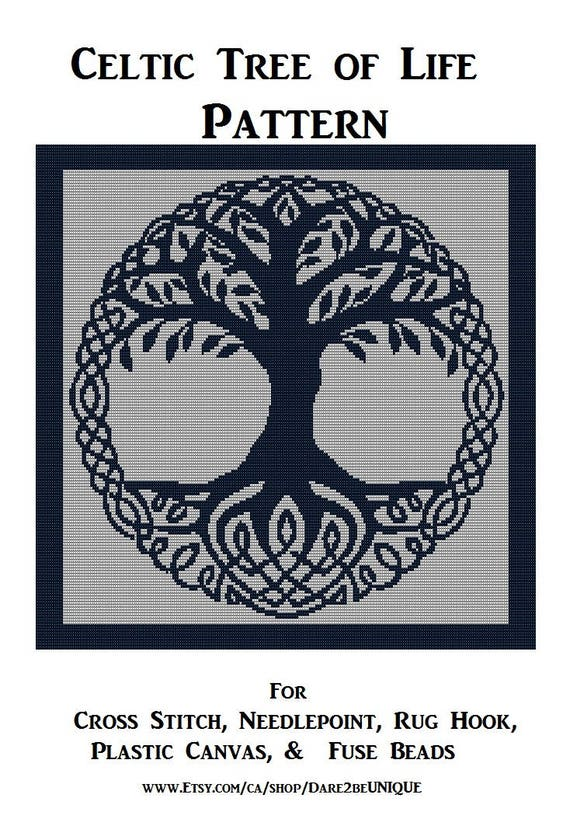 Celtic Tree Of Life PATTERN Cross Stitch Needlepoint Rug Etsy Enchanting Tree Of Life Pattern