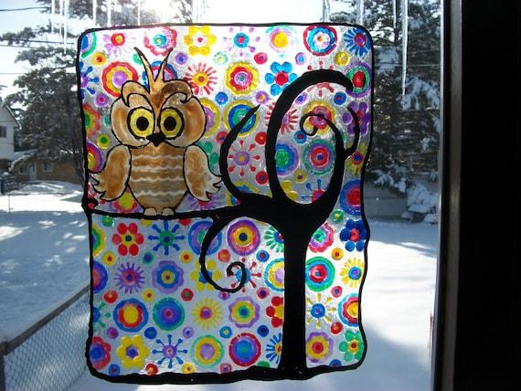 Birds Kandinsky Inspired Painting to Hang in Windows Hand Painted 10.5 Inch Rainbow Static Cling OWL Window Cling Suncatcher Bird Owls