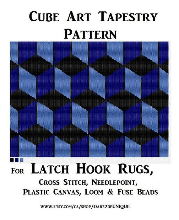 Set Of 3 Cube Rug Patterns For Latch Hook Rugs Cross Stitch Etsy