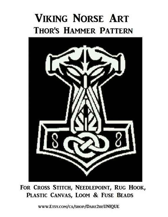 Thor S Hammer Norse Cross Stitch Pattern Needlepoint Plastic Canvas Tapestry Rug Hooking Patterns Perler Viking Art Digital Download