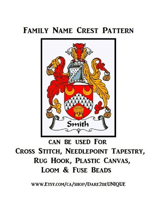Family Crest Print ALL NAMES Family Crest cross stitch chart