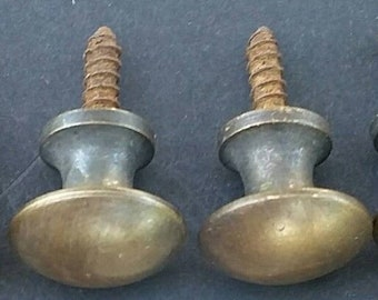 "4 Antique Style Brass Classic Modern Round Knob Handle Pull 1-1//8/""d #K6"
