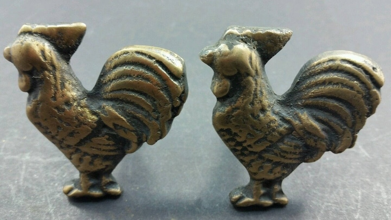 Chicken Cabinet Drawer Door Knobs Pulls Solid Brass Country #K13 Set of 2 Rooster