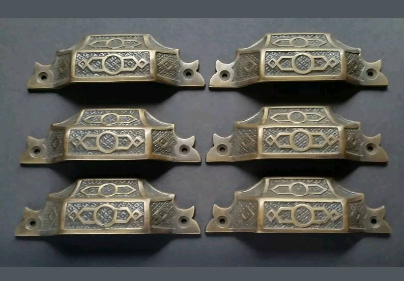 6 antique vintage brass Victorian Apothecary Bin Pull handles 4-916 #A6