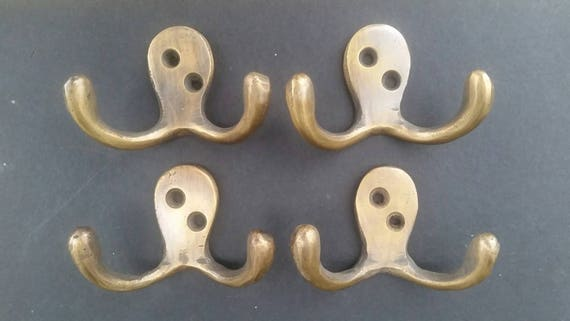 """4 Arts and Crafts Mission Antique Style Coat Hat double hooks 4/"""" brass #C7"""