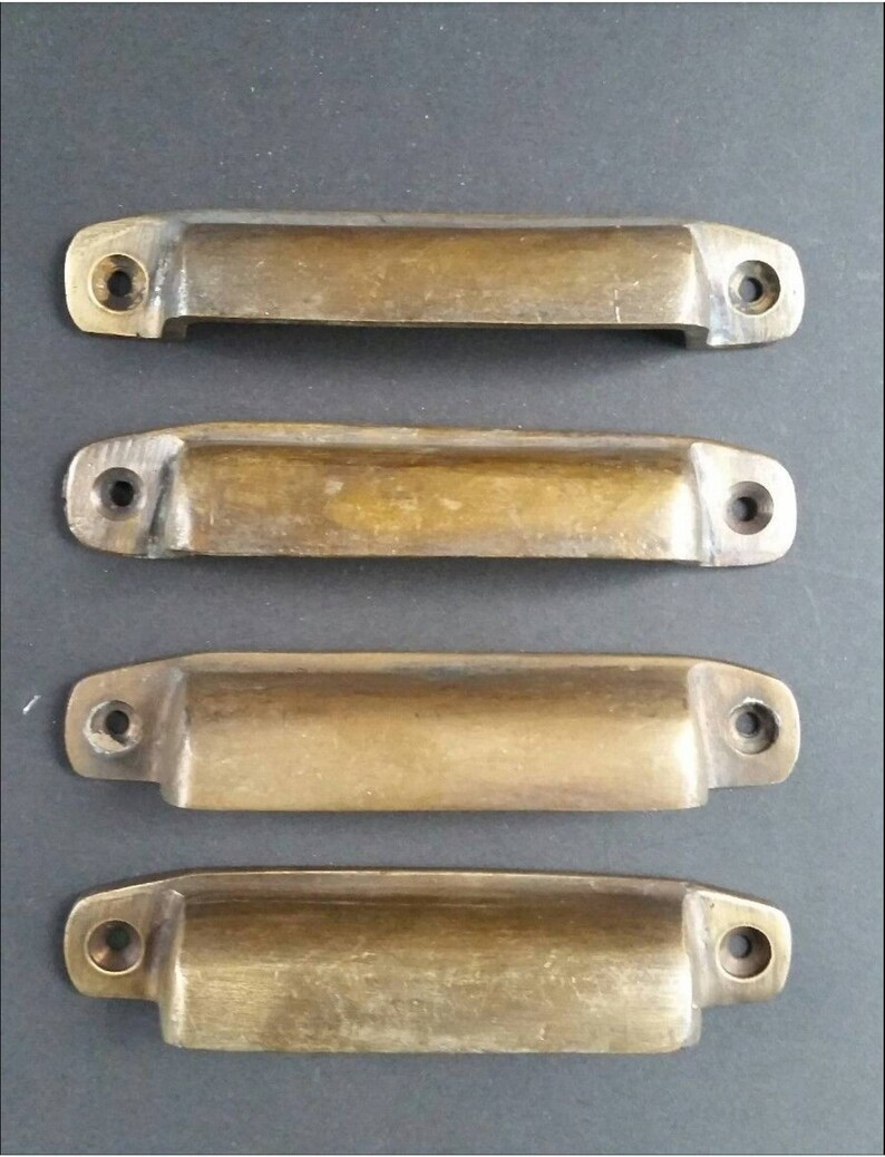 4 Antique Brass Apothecary Cup Drawer Cabinet Bin Pulls Handles 4 W A16 Drawer Pulls Architectural Garden
