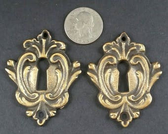 "2 Vintage Antique Style French Eschutcheons Key Hole Covers 2 1/4"" jewelry part #E9"