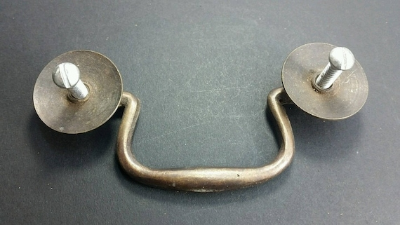 "2 Antique Brass Swan Neck Bails Cabinet Drawer Pull handles w Screws 3/""cntr #H39"