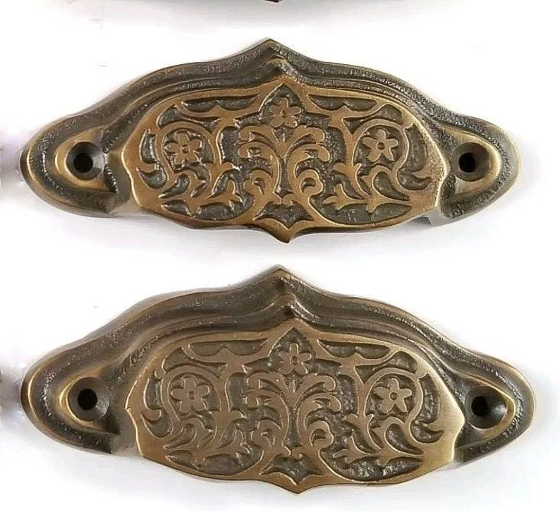 4 Antique vtg Style Victorian Brass Apothecary Bin Pulls Handles 3-7/16w #A5