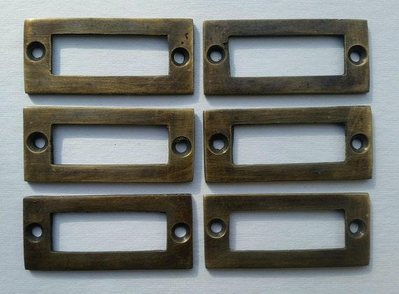 "10 Solid Brass Library Card File Holder Handles Antique Style 2 1//8/"" wide #F2"