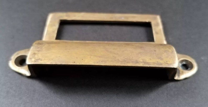 """4 Antique Brass Apothecary Cup Drawer Cabinet Bin Pulls Handles 4/""""w #A16"""