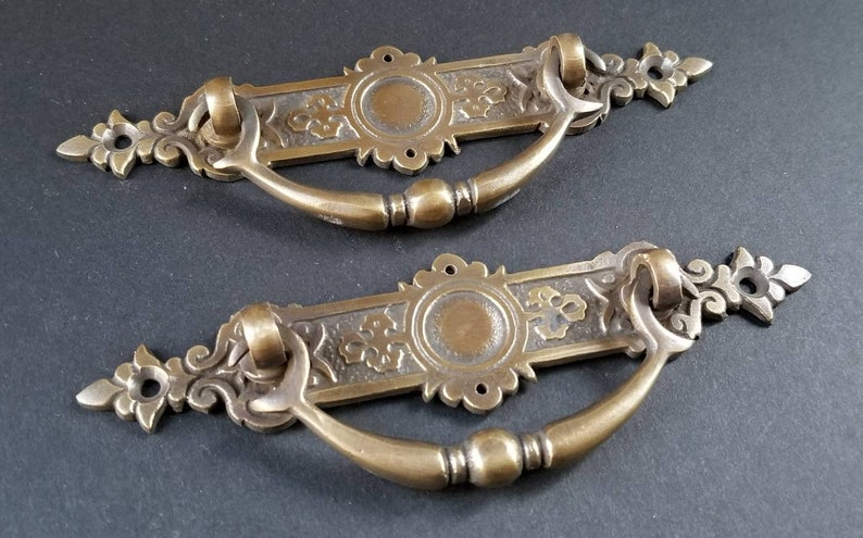 """4 ornate round ring pull handles with detailed ribbon backplate 1 5//8/"""" #H23"""