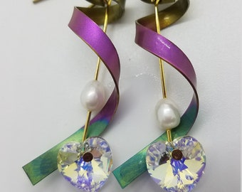 Heart Jewelry Nature Jewellery Blue Jewelry Wearable Art Ceramic Pottery Heart Earrings Drop Earrings Dangle Earrings Leaf Earrings