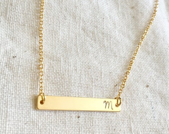 Minimal gold bar initial necklace, dainty simple necklace, gift for her, minimalist, layering necklace