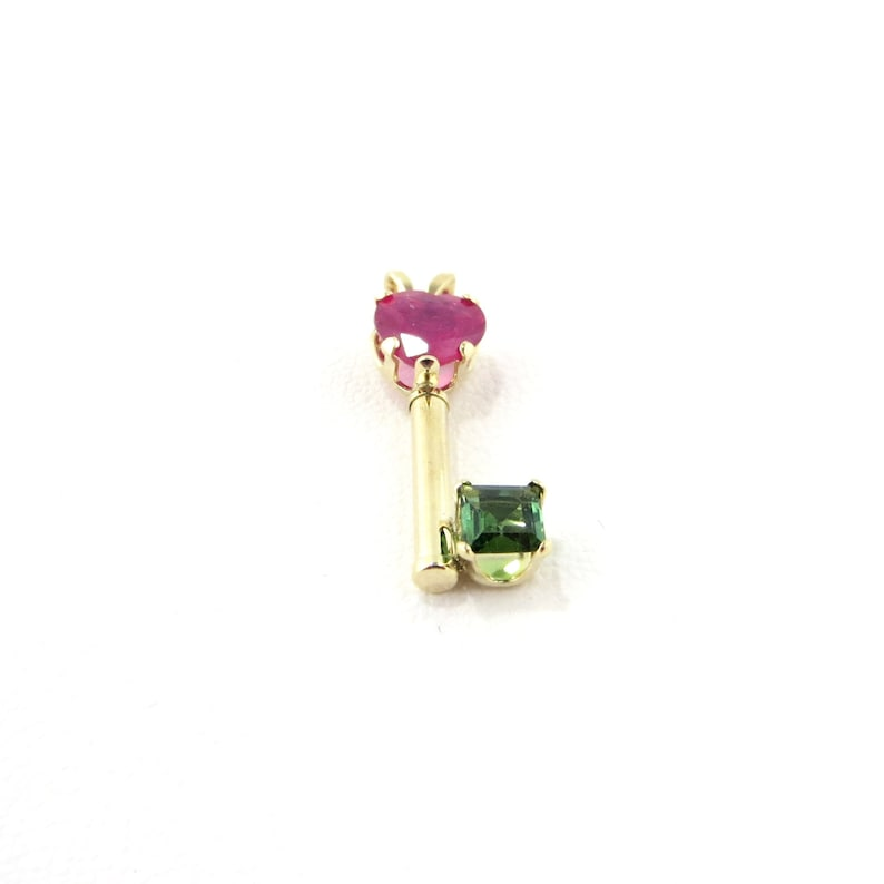 Genuine Red Ruby Heart With Green Tourmaline 14K Gold Key Pendant.