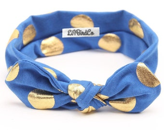 Polkadot Headband-Azure Blue & Gold