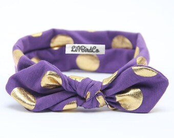 Polkadot Headband-Purple & Gold