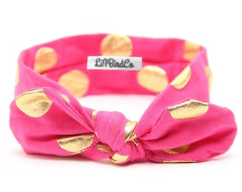 Polkadot Headband-Raspberry Pink & Gold
