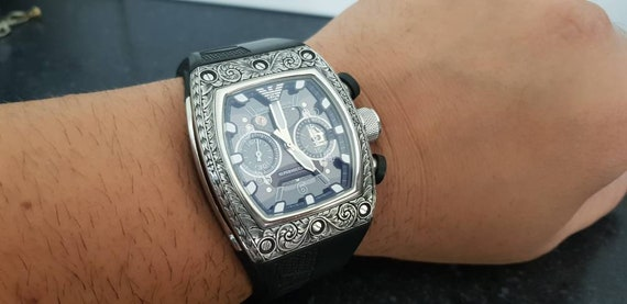 discount cheap prices cheap price Emporio Armani AR-4900 Supermeccanico hand engraved luxury watch