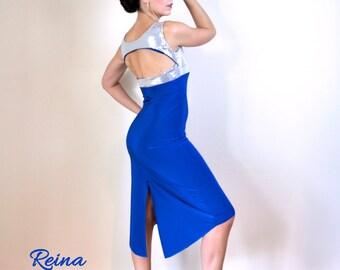 b8daef0bb7e187 Blauw zilver pailletten Argentijnse tango jurk terug gleuf