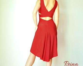 b6663108d95cc7 Rode jurk blauwe Tango jurk naakt roze jurk kruis terug met staart