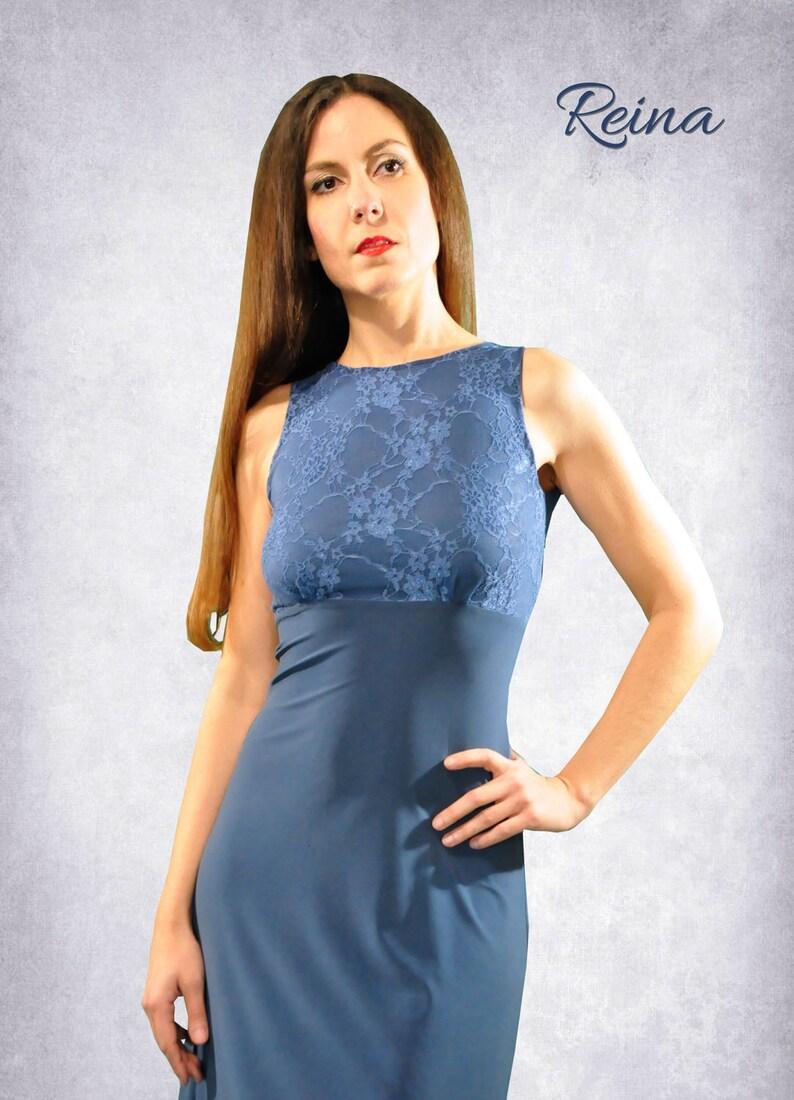 ba076beb8f1657 Blauw   zwarte jurk van de Argentijnse tango met kant en