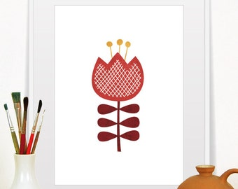 Flower Print, Mid Century Modern Art, Scandinavian Modern, Minimalist Art, Flowers Illustration, Home Decor, Red Flower, Print Wall Decor