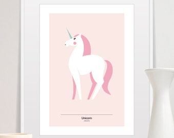 pink unicorn, unicorn print, unicorn art, unicorn decor, nursery wall art animals, unicorn clipart, unicorn art print, scandinavian modern