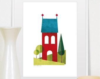 Mid Century Modern Art, House Print, House Decor, Modern Art, Home Decor, Scandinavian Modern ,House Illustration, Art Prints, Wall Art