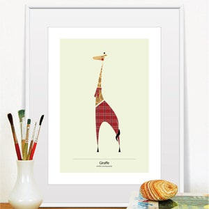 Personalised Print Signed Limited Edition Baby Giraffe Calf Illustrated Gicl\u00e9e Print FREE POSTAGE to UK