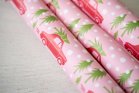 Pink Wrapping Paper Wrapping Sheets Pink Holiday Gift Wrap | Etsy