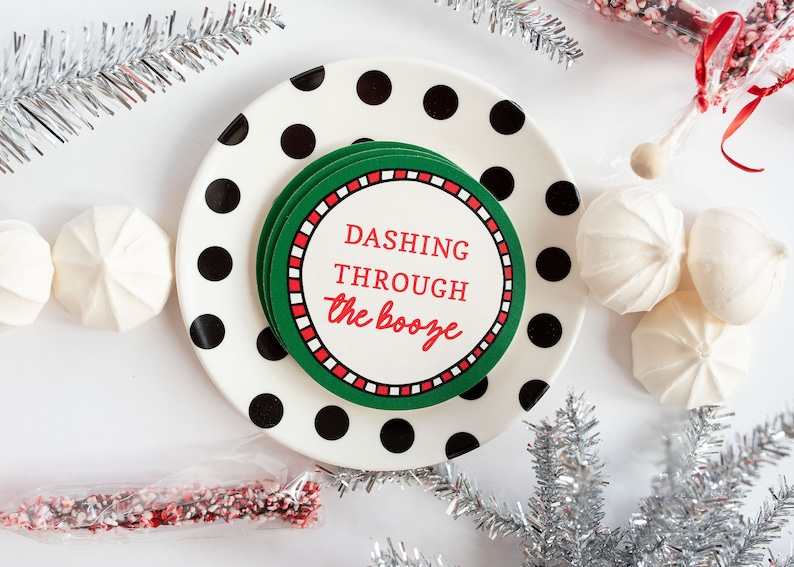 Holiday Coaster Set Adult Stocking Stuffer Christmas image 0