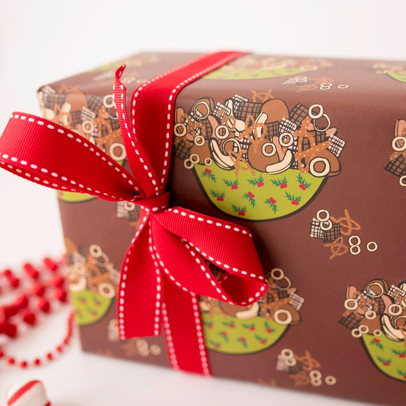 Gift for Foodie Holiday Traditions Wrapping Sheet Holiday Gift Wrap Unique Gift Wrap Chex Mix Party Mix Christmas Gift Wrap