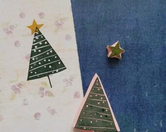 Pine tree rubber stamp for Christmas card, woodland stationery, Winter ephemera, xmass star, holiday season, winter wonderland, Holly night