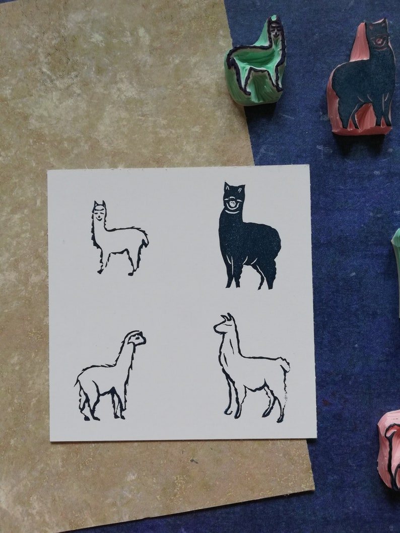 exotic animal print country farm life Lama custom stationery gift for son daughter/'s diary decor Lama rubber stamp for handmade lovers