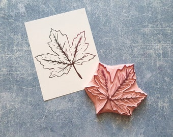 Leaf rubber stamp, maple tree stamp, fall journal insert, traveler notebook, Halloween decoration, vintage stencil, craft stash