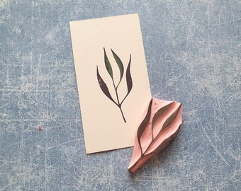 Leaf rubber stamp for cardmaking, handmade ephemera, papercut leaf, fussy cutting twig, glue book foliage, botanical print