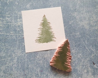 Christmas tree rubber stamp for scrapbooking, Pine tree stamp for cardmaking, winter wishes embellishment, gift for crafters, artist pattern