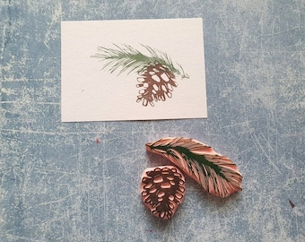 Pine branch with cone stamp set, Christmas tree stamp for best wishes, cardmaking supplies, winter decor for bullet journal