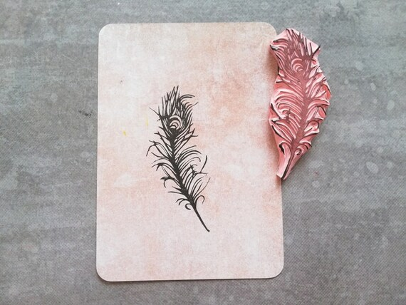 Scrapbooking Craft Wedding Feather Very Mini Rubber Stamp